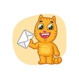 Cat Holding Letter y risas stock de ilustración