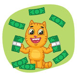 Cat Holding Money e felice Illustrazione Vettoriale