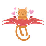 Cat Holding Red Ribbon Vector Sticker, Template St. Valentines Day Message Element Missing Text With Cute Animal Royalty Free Stock Image