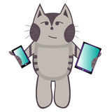 Cat holding a tablet and a smartphone Stock Photo