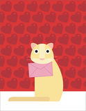 Cat holds a love letter. A yellow cat is holding a love letter Royalty Free Stock Photography