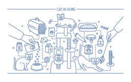 Cat in home contour banner with pet toys, meds and kitty meals. Horizontal outline line art vector illustration. Stock Image