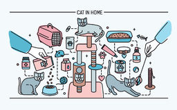 Cat in home horizontal banner with pet toys, meds and kitty meals. Horizontal colorful line art vector illustration. Cat in home horizontal banner with pet toys Royalty Free Stock Images