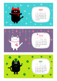 Cat horizontal calendar 2017. Cute funny cartoon character set.  Stock Images