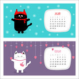 Cat horizontal calendar 2017. Cute funny cartoon character set. Royalty Free Stock Photo