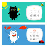Cat horizontal calendar 2017. Cute funny cartoon white black character set. Stock Photography