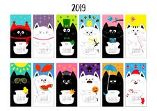 Cat horizontal monthly calendar 2019. Cute funny cartoon character set. All month. Happy Valentines Christmas St Patrick day Easte. R Egg Bird Chicken Umbrella vector illustration