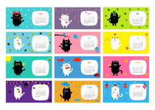 Cat horizontal monthly calendar 2017. Cute funny cartoon character set. Royalty Free Stock Photography