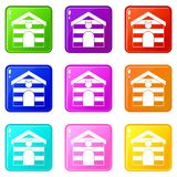 Cat house icons 9 set Royalty Free Stock Image