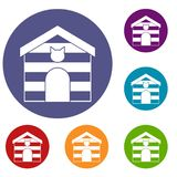 Cat house icons set Stock Images
