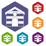Cat house icons set hexagon Royalty Free Stock Photo