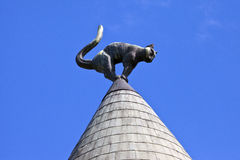 Cat House in Riga. The cat sculpture on the roof of Cat House in Riga, Latvia Royalty Free Stock Photo
