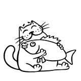 Cat hugging big fish. Isolated vector illustration. Cat hugging big fish. Cartoon cool character. Contour freehand digital drawing. Isolated vector illustration Stock Images