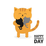Cat hugging two little baby kitten. Happy Fathers day. Kittens on hands. Kitty hug.. Funny Kawaii animal family. Cute cartoon pet character set. Flat design Stock Photo