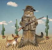 Cat hunter with dog 4. The cat hunter is holding a real gun. His dog is next to him Royalty Free Stock Images