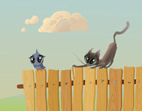 Cat hunts a bird. Cat - hunter stalks a bird on the fence (The vector illustration Royalty Free Stock Photography