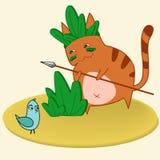 Cat hunts. Vector illustration cat hunting a bird Royalty Free Stock Photography