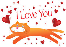 Cat I Love You Illustration Royalty Free Stock Photo
