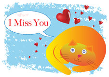 Cat I Miss You Illustration Stock Photo