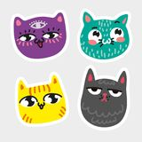 Cat icon collection Quad colorful isolated cat stickers Striped yellow cat purple cat with eye in forehead blue pussy in. Speckles sad gray moggy Vector Royalty Free Stock Image