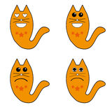 Cat icon. Icon lovesick cat expression, sad, happy and tired Stock Photos