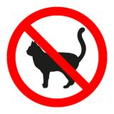 Cat icon in prohibition red circle, No pets ban sign, forbidden symbol. Cat icon in prohibition red circle, No pets ban sign, forbidden symbol on white Royalty Free Stock Images