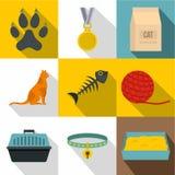 Cat icon set, flat style Stock Photos
