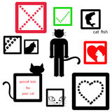 Cat icon symbol set isolated on white background, vector.  Royalty Free Stock Photos