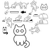 Cat icons. Vector image of collection of cat icons Stock Photo