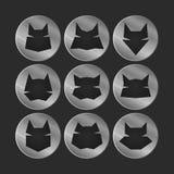 Cat icons. Icons set: stylized cats. Metallic Stock Images