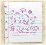 Cat icons doodle set  on paper note, vector illustration Stock Photo