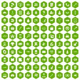 100 cat icons hexagon green. 100 cat icons set in green hexagon isolated vector illustration royalty free illustration