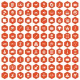 100 cat icons hexagon orange Royalty Free Stock Photography