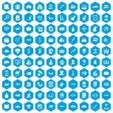 100 cat icons set blue. 100 cat icons set in blue hexagon isolated vector illustration Royalty Free Stock Photo