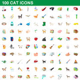 100 cat icons set, cartoon style. 100 cat icons set in cartoon style for any design vector illustration Royalty Free Stock Photo