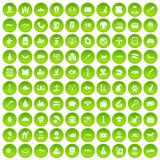 100 cat icons set green circle. Isolated on white background vector illustration Royalty Free Stock Photography