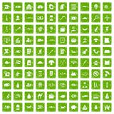 100 cat icons set grunge green. 100 cat icons set in grunge style green color isolated on white background vector illustration Royalty Free Stock Images