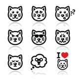 Cat icons set - happy, sad, angry  on white Stock Image