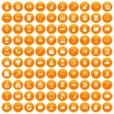 100 cat icons set orange. 100 cat icons set in orange circle isolated on white vector illustration Vector Illustration