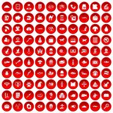 100 cat icons set red. 100 cat icons set in red circle isolated on white vector illustration Royalty Free Stock Photo