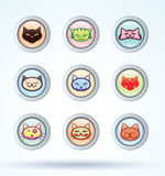 Cat icons set, vector. Stock Image