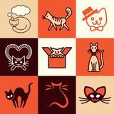 Cat icons vector set Royalty Free Stock Images
