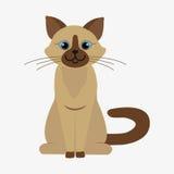 Cat  illustration. Blue-eyed siamese cat sitting on floor. Cartoon character. Domestic animal. Flat  stock illustration Royalty Free Stock Images
