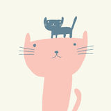 Cat illustration for mothers day. Vector illustration of a cute cat and a kitten for mothers day Royalty Free Stock Images
