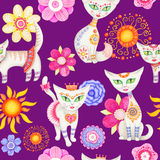 Cat illustration. Seamless hand illustrated pattern with cute cartoon cats and flowers Stock Illustration