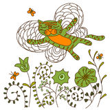 Cat illustration vector. Cat flying over flowers Royalty Free Stock Photography