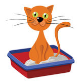 Cat Inside Litter. Illustration of a funny redhead streaked cartoon domestic cat character Royalty Free Stock Photos