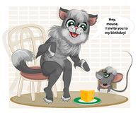 The cat invites the mouse to his Birthday Stock Images