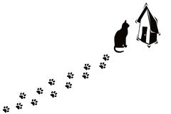 Cat and its paw prints. Cat home and its paw prints on white background Royalty Free Stock Photos