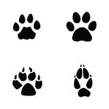 Cat, jaguar, dog, fox footprint Stock Images